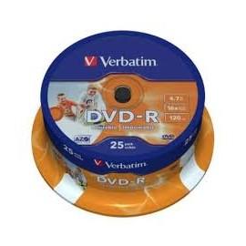 TARRINA DVD VERBATIM 25 UNIDADES +R Y -R
